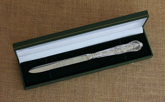 Sterling Silver Queens Pattern Letter Opener in a Gift Box