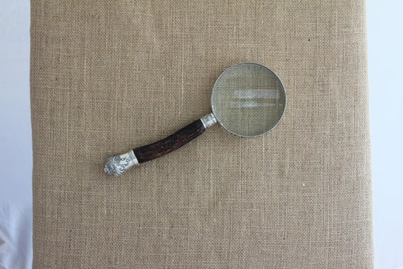 Antique Stag Horn Handled Chrome Rim Magnifying Glass