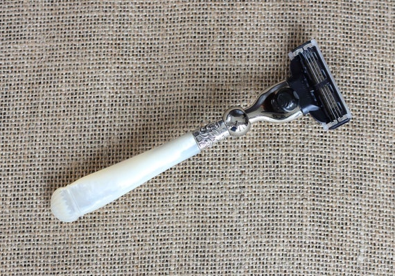 Gift Idea - Carved Shell Mother of Pearl Handled Razor Sheffield 1890