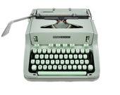 Hermes 3000 Vintage Green Typewriter Revised with New Ribbon