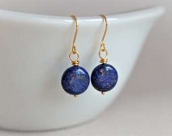 Lapis Lazuli Gemstone Earrings Simple earrings *Blue earrings *Gift for her *Short earrings
