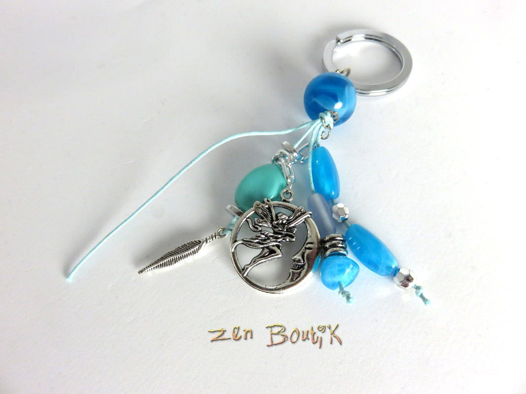 Bijou de sac porte cl s zen lune f e plume bleu pendentif etsy for Porte zen fiber