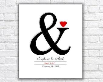 Wedding Date Ampersand Art Digital Download Poster Art Wedding Dates