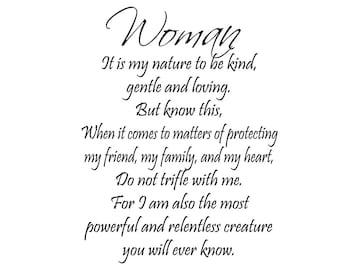 Woman It Is My Nature Powerful Quote  Instant Digital Download