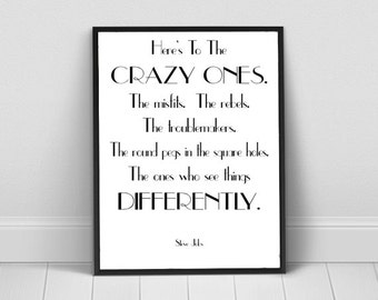 Here's To The Crazy Ones  Instant Digital Download