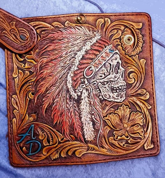 Biker wallet indian skull sheridan floral hand tooled