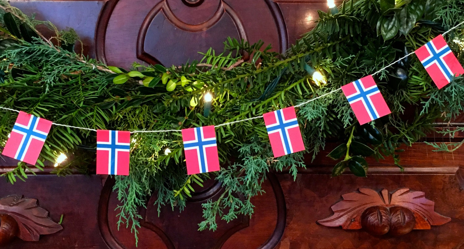 Norway Flag Garland Christmas Decoration Paper 5 feet | Etsy