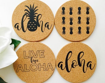 Hawaii Coaster Set ~ Hawaii Coaster ~ Aloha Coaster ~ Live Aloha Coaster ~ Pineapple Coaster ~ Hawaii Coaster Set
