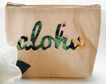 Hawaii Aloha Pouch ~ Aloha Case ~ Hawaii Pouch ~ Aloha Make-Up Case ~ Hawaiian Print Pouch ~ Hawaii Cosmetics Bag