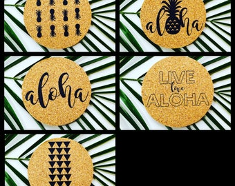 Hawaii MIX AND MATCH Coaster Set ~ Hawaii Coaster ~ Aloha Coaster ~ Live Aloha Coaster ~ Pineapple Coaster ~ Hawaii Coaster Set