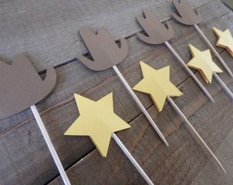 12 Western Cupcake Toppers, Cowboy Cupcake Toppers, Sheriff Cupcake Toppers, Wild West cupcake toppers, Woody Theme Party, Sheriff Star,