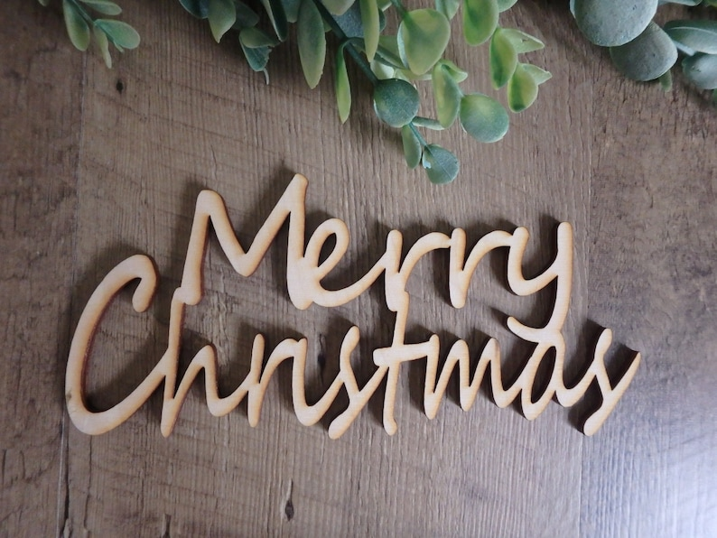 Merry Christmas wood cutouts  Christmas place cards  image 0