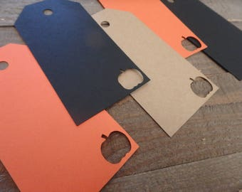 Halloween Tags, Pumpkin Tags, Tags with Pumpkins, Orange Tags, Black Tags, Halloween Party Supplies, Halloween, Fall Tags, Pumpkins