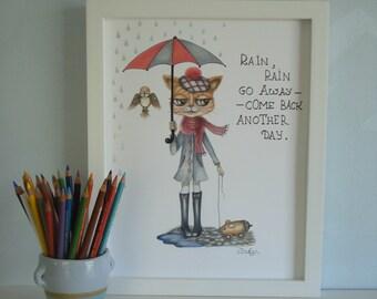 cat in the rain.