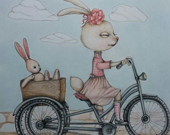 "Greetings Card "" Lucy the Rabbit"" 5 X 7. Nursery art. Baby Shower invitation. Birthday card. Bike pictures. Rabbit. Nursery Art"