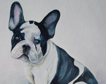 "Greeting Card 5 X 7 "" Frenchie"". Greeting Card. Thank you card. French Bulldog. Bulldog picture.Watercolor french bulldog. Pet greeting card"