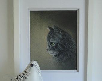 Custom Pet Portrait. Cat Portrait. 9 X 12 inc. Pastel. Pastel gray tones texture paper