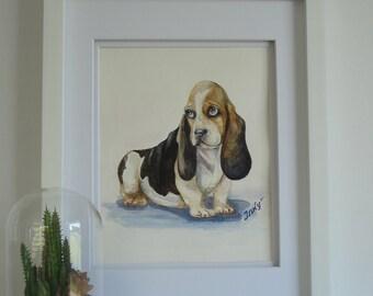 """Original watercolor painting 11 X 14 in. """"Sad Basset Hound"""". Pet portrait. Dog watercolor portrait Basset Hound. Basset. Watercolor portrait"""
