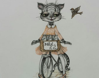 Kitty Greetings Card 5 X 7 inc. Cat. Bike. Thank you card. Cat illustration. Bike Picture. Birthday card.
