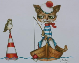 "Greeting Card ""Fisherman Cat"" 5 X 7. cat picture. Cat original illustration. Thank you card. Greeting card. Fisherman. Fishing. French. Cat"