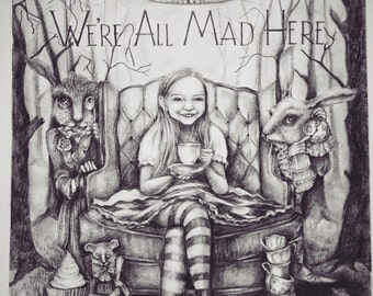 Custom Illustration  of your child on any story theme. Alice in Wonderland. Children's wall art. Children room decor. custom illustration.
