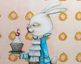 Greeting Card Oscar The Rabbit With Cup Cake 5 X 7 Birthday