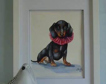 "Original watercolor painting 11 X 14 in. ""Dachshund"". Paper 300g. Watercolor Dachshund. Dachshund picture. Dog. Pet portrait. Dog picture"