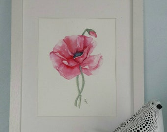 Poppy flower. Original watercolor painting 8 x 10 inc. Watercolor paper 300 g. Poppy. Red flower. Poppy picture.