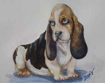 "Greeting Card 5 X 7 "" Sad Basset"". Basset Hound.Watercolor basset. Pet Greeting Card. Thank you card . Basset picture."
