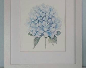 Watercolor Hydrangea. 8 X 10 in. Arches watercolour paper.  Watercolor flower picture. Blue flower. Home decor. Wall art. Botanical wall art