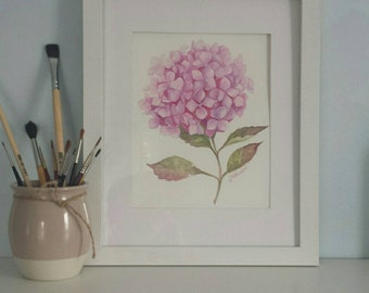 Watercolor Hydrangea flower. 11 x14 in. paper 300 g. Original watercolor picture. Pink  flower. Home decor. Botanical wall art. Gift.