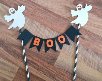 Halloween Cake Bunting, Halloween Cake Topper, Ghost Cake Topper, Boo Cake Topper, Halloween Decoration