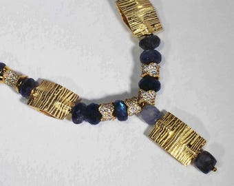 Labradorite beads with gold rectangular spacers - some with Swarvoski crystals