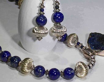 Lapis beads separated by silver beads with a druzy Lapis pendant