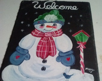 Painted Slate - Snowman with birdhouse *Personalized No Charge*