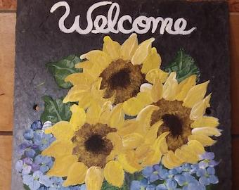 Painted Slate Sunflowers and Blue Hydrangeas