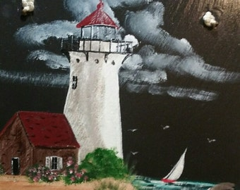 Painted Slate - Lighthouse with Brick House *Personalized No Charge*