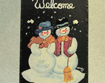 Painted Slate - Snowman Couple *Personalized No Charge*