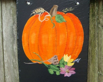 Painted Fall  Pumpkin slate *Personalized No Charge*