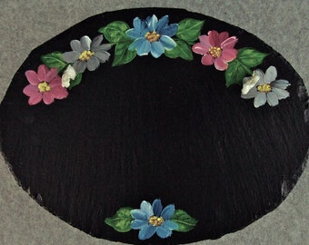Painted Oval Slate - Multicolored Flowers *Personalized No Charge*