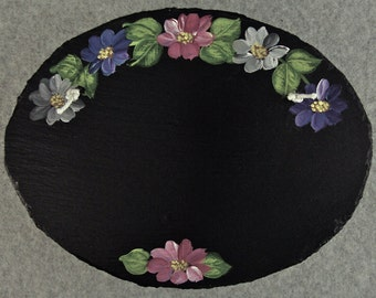 Painted Oval Slate - Gray Flower Mix *Personalized No Charge*