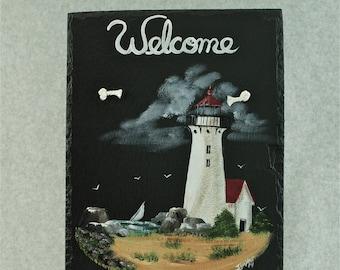 Painted Slate - Lighthouse with Beach