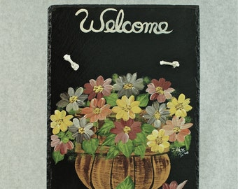 Painted Slate - Earth Tone Flowers in Basket *Personalized No Charge*