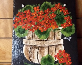 Painted Slate Red Geranium in Basket *Personalized at No Charge*