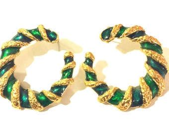 Go green 80s green gold and aqua hoop pierced earrings | St Patrick's Day | flashy hoops | chunky gold hoops | FREE SHIPPING
