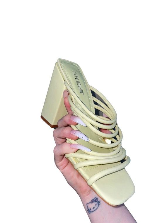 light green chunky open toe heel | instagram | tre
