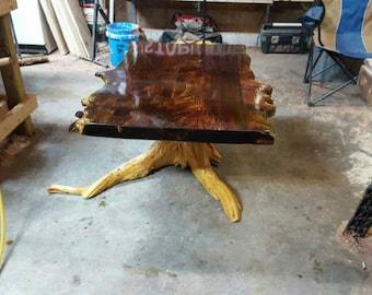 Coffee Table, Rustic Coffee Table, Live Edge Table, Stump Table, Cedar Table, Live Edge Cedar