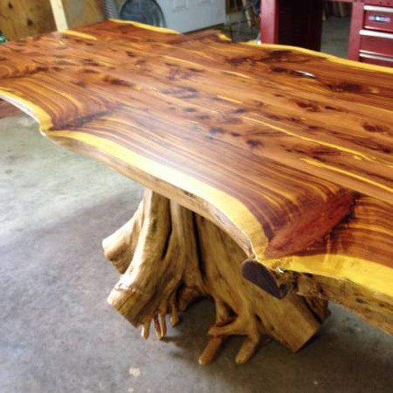 Stump Table Rustic Table Live Edge Table Cedar Table Etsy
