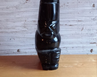 Obsidian Carving of an Aztec Chieftan