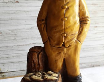 "Vintage Orzeck-Figurine. Manufactured Ware, MA. New England Fisherman with his boots + yellow rain gear Very-Nice-Cond.  9"" tall and 4"" wide"